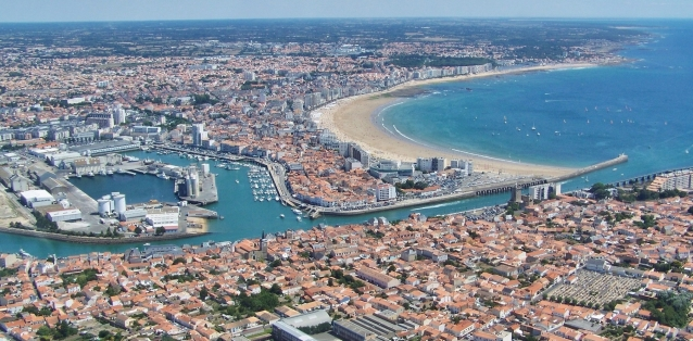 Aerial view of the harbour area of Les Sables d'Olonne