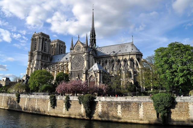 Notre Dame Cathedral in Paris bathed in sunshine