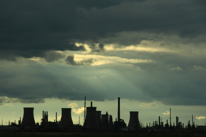 Oil refinery in silhouette