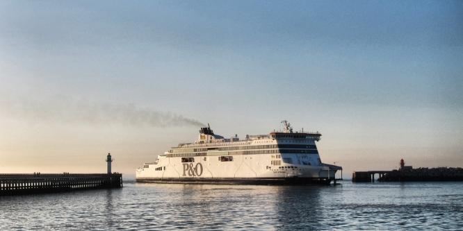 A P&O Ferry entering the Port of Calais