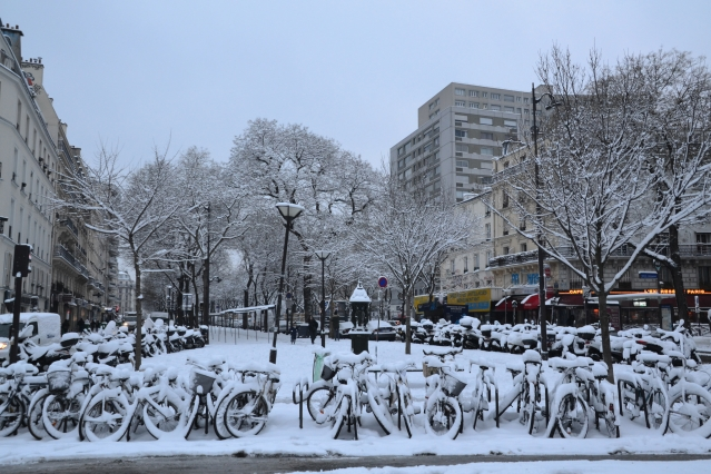 Paris's ride-sharing Velib bicycles covered in snow