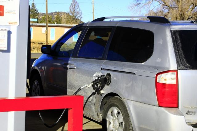 A car at a petrol station