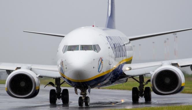 Ryanair aeroplane taxiing on a runway