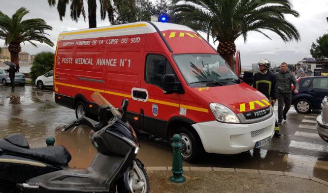 Emergency services at the scene after a marquee tent collapsed during a storm in Ajaccio, Corsica