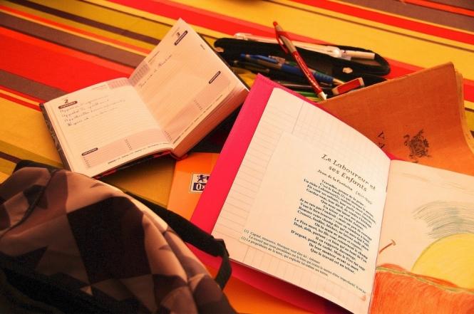 School books, agenda, pens, bag and pencil case