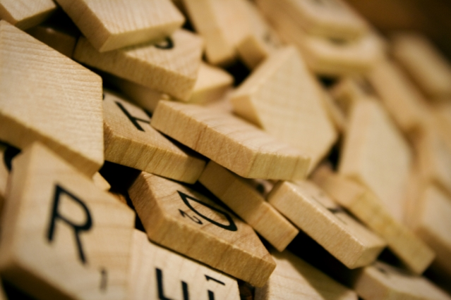 letters from the game scrabble all jumbled up