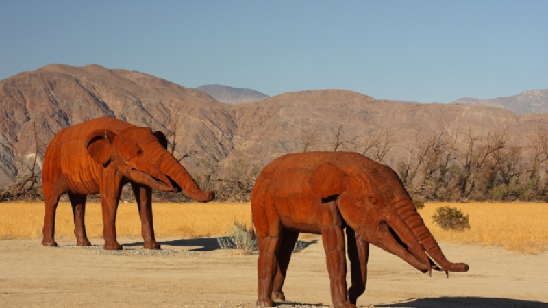 Sculptures of two Gomphotheriums, a four-tusked ancestor of the elephant