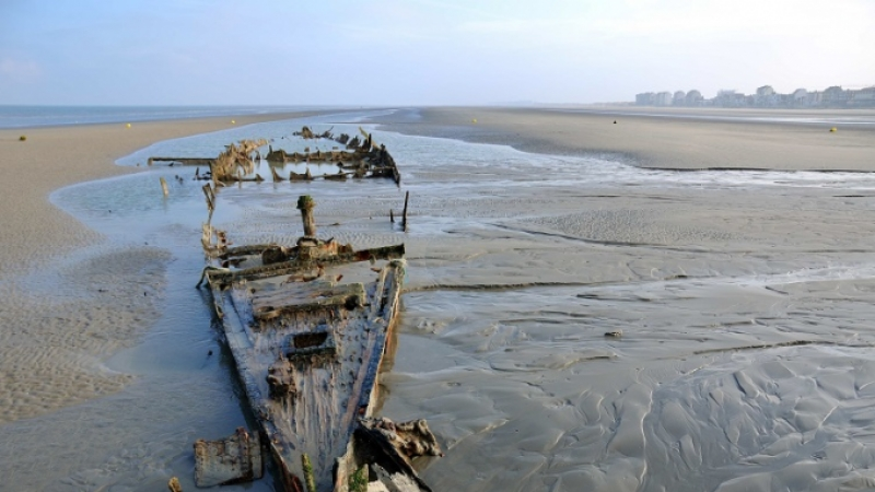 Wreck of ship lies half-buried in sands