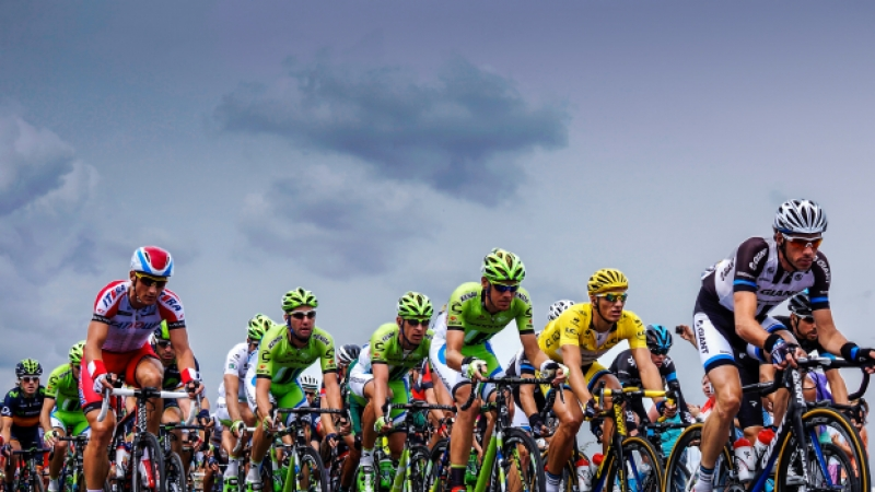 Tour de France riders on road