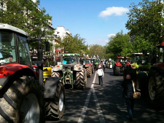Tractors blockade a road in Paris